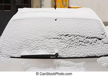 autó ablak, tél, hát