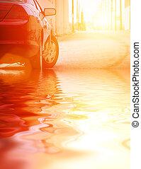 autó, alatt, víz, closeup