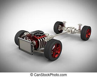 autó, alváz, noha, gép, és, tol