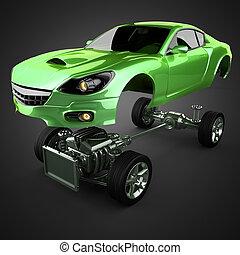 autó, alváz, noha, gép, közül, fényűzés, brandless, sportcar