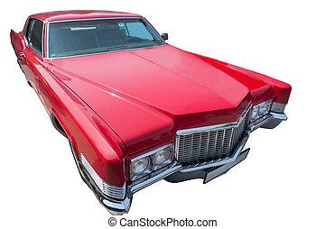 autó, amerikai, öreg, elszigetelt, piros
