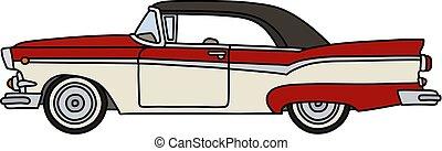 autó, amerikai, öreg, white piros