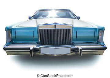 autó, amerikai, ősi, elszigetelt