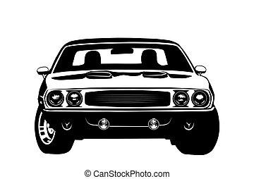 autó, amerikai, izom, árnykép, jelmagyarázat