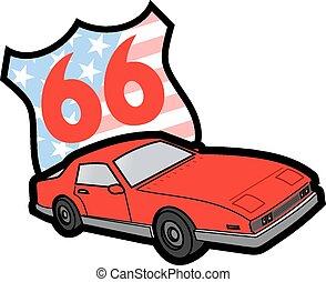 autó, amerikai, izom