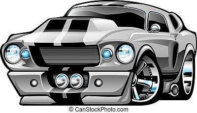 autó, amerikai, izom, karikatúra, klasszikus
