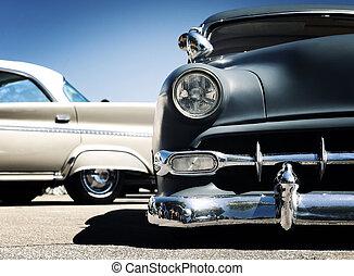 autó, amerikai, klasszikus művek, -, retro