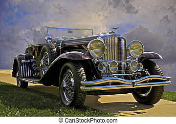 autó, amerikai, klasszikus
