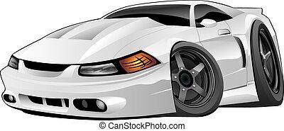autó, amerikai, modern, izom