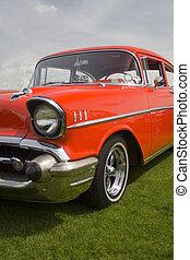 autó, amerikai, piros, klasszikus