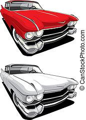 autó, amerikai, retro
