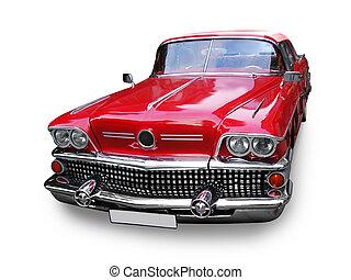 autó, amerikai, -, retro