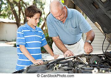 autó, atya, fenntartás, fiú