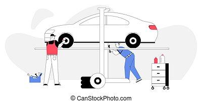 autó, autó, szerelő, szolgáltatás, rendbehozás, autó, concept., megvizsgál
