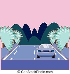 autó, az úton, tervezés