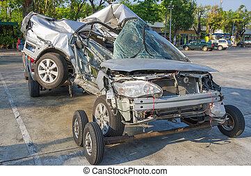 autó, baleset