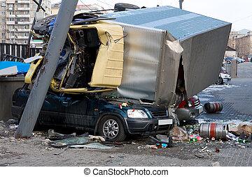 autó, baleset, Lezuhan