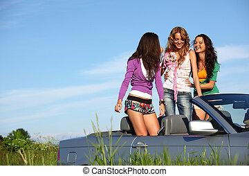 autó, barátok