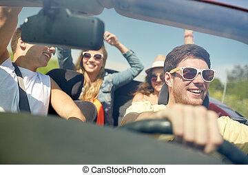 autó, barátok, kabrió, vezetés, boldog