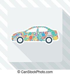 autó, bekapcsol, színes, ikon