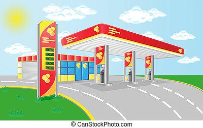 autó, benzin, vektor, állomás