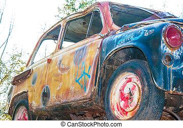 autó, berozsdásodott, öreg