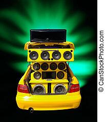 autó, beszélók, extrem, basszus, hangolt
