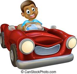 autó, betű, karikatúra, vezetés