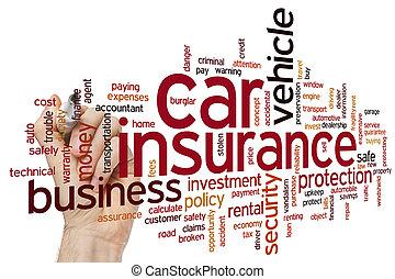 autó biztosítás, szó, felhő