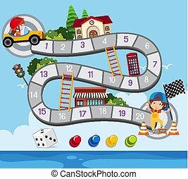 autó, boardgame, tervezés, sablon, versenyzés, kölyök