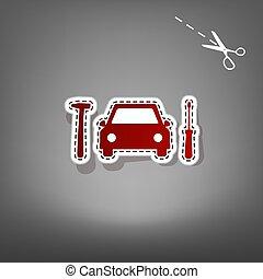 autó, cégtábla., autógumi, szolgáltatás, rendbehozás