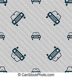 autó, cégtábla., seamless, vektor, motívum, geometriai, texture., ikon