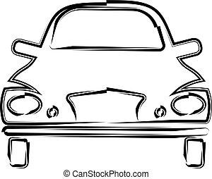 autó, calligraphic, elülső, tervezés, kilátás, elegáns