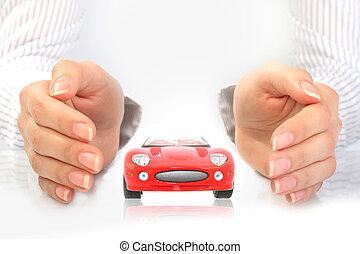 autó, concept., biztosítás