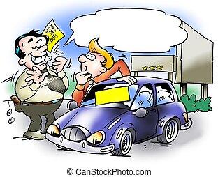 autó, convinces, vásárló, eladó