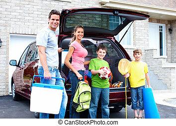 autó., család, boldog