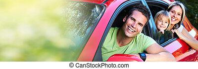 autó, család, piros