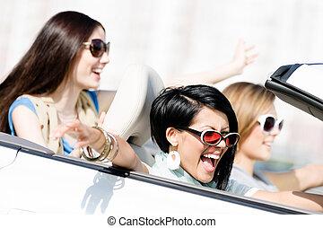 autó, csoport, lány