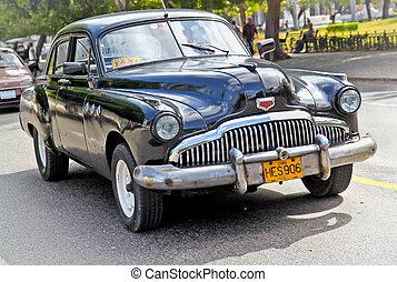 autó, cuba., amerikai, havana., klasszikus