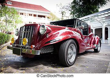 autó, dísz, piros, szüret
