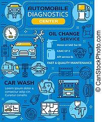 autó, diagnosztika, fenntartás, infographics