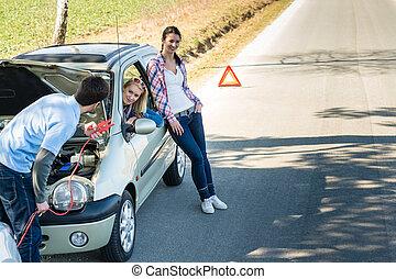 autó, disszidál, két, ételadag, női, barátok, ember