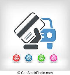 autó, dokumentum, ikon