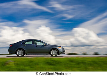 autó, drivng, gyorsan