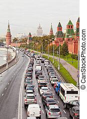 autó, dzsem, képben látható, kremlin, rakpart, alatt,...