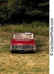 autó, egyedülálló, piros, klasszikus