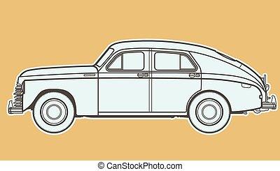 autó, egyenes, retro, rajz