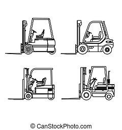 autó, egyenes, targonca