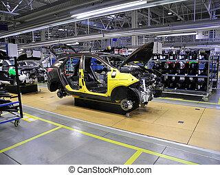autó, egyenes, termelés