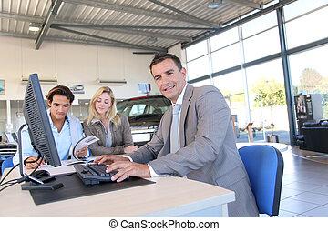 autó, eladó, és, párosít, közül, vevő, cégtábla szerződő